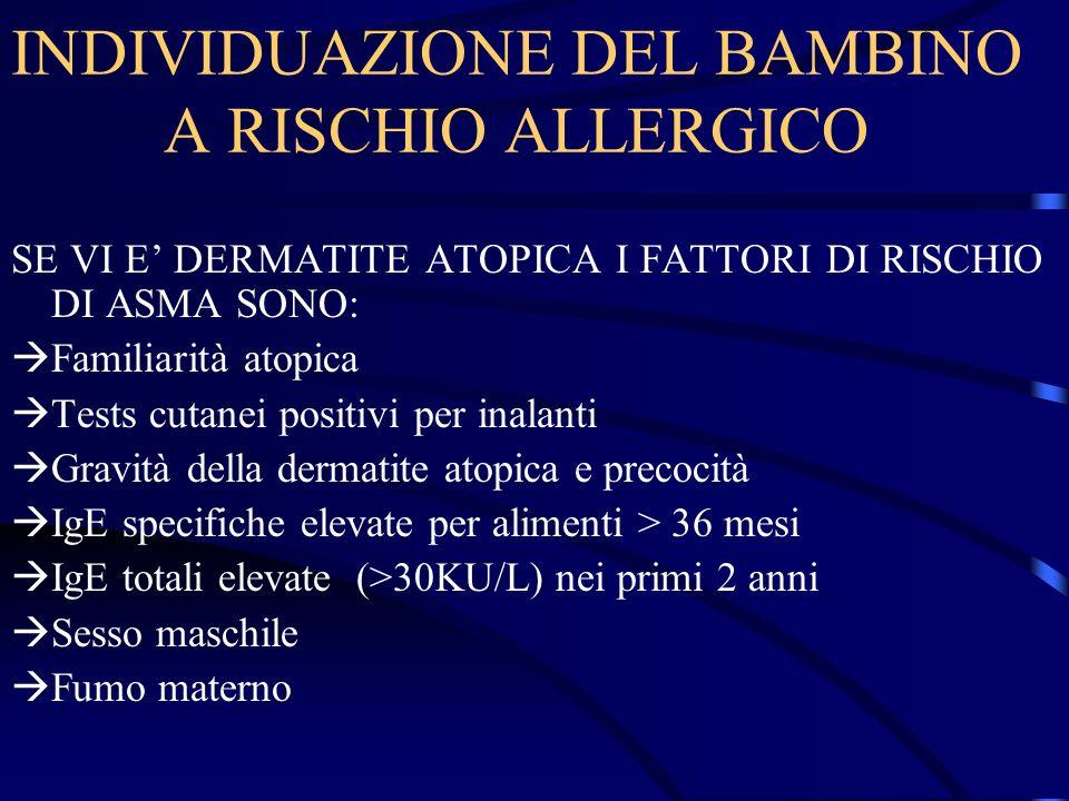 INDIVIDUAZIONE DEL BAMBINO A RISCHIO ALLERGICO SE VI E DERMATITE ATOPICA I FATTORI DI RISCHIO DI ASMA SONO: Familiarità atopica Tests cutanei positivi