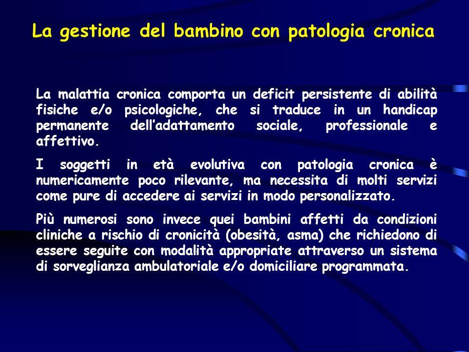 La gestione del bambino con patologia cronica La malattia cronica comporta un deficit persistente di abilità fisiche e/o psicologiche, che si traduce