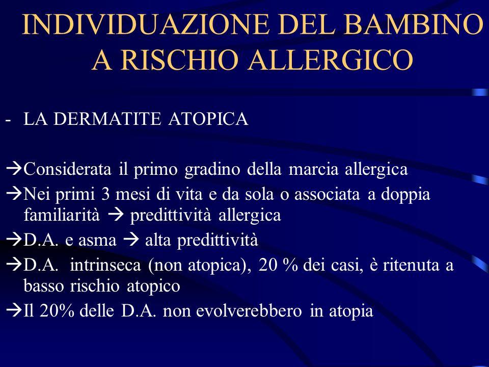 INDIVIDUAZIONE DEL BAMBINO A RISCHIO ALLERGICO -LA DERMATITE ATOPICA Considerata il primo gradino della marcia allergica Nei primi 3 mesi di vita e da