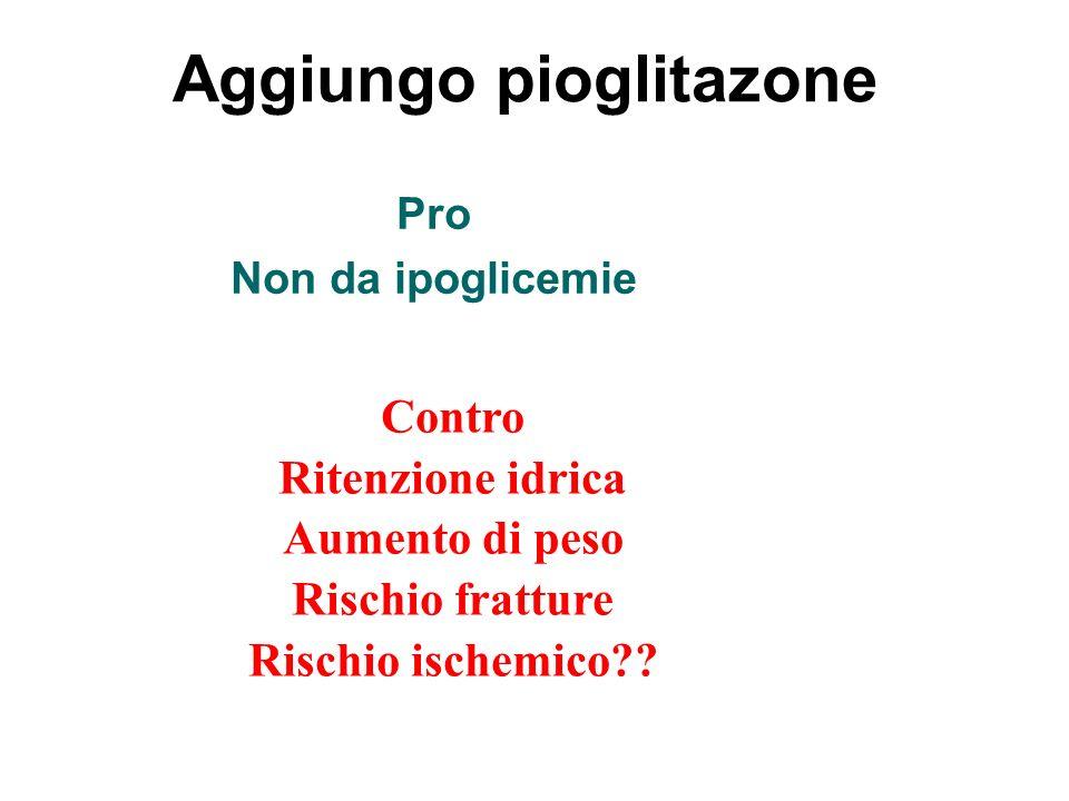 Aggiungo pioglitazone Pro Non da ipoglicemie Contro Ritenzione idrica Aumento di peso Rischio fratture Rischio ischemico??