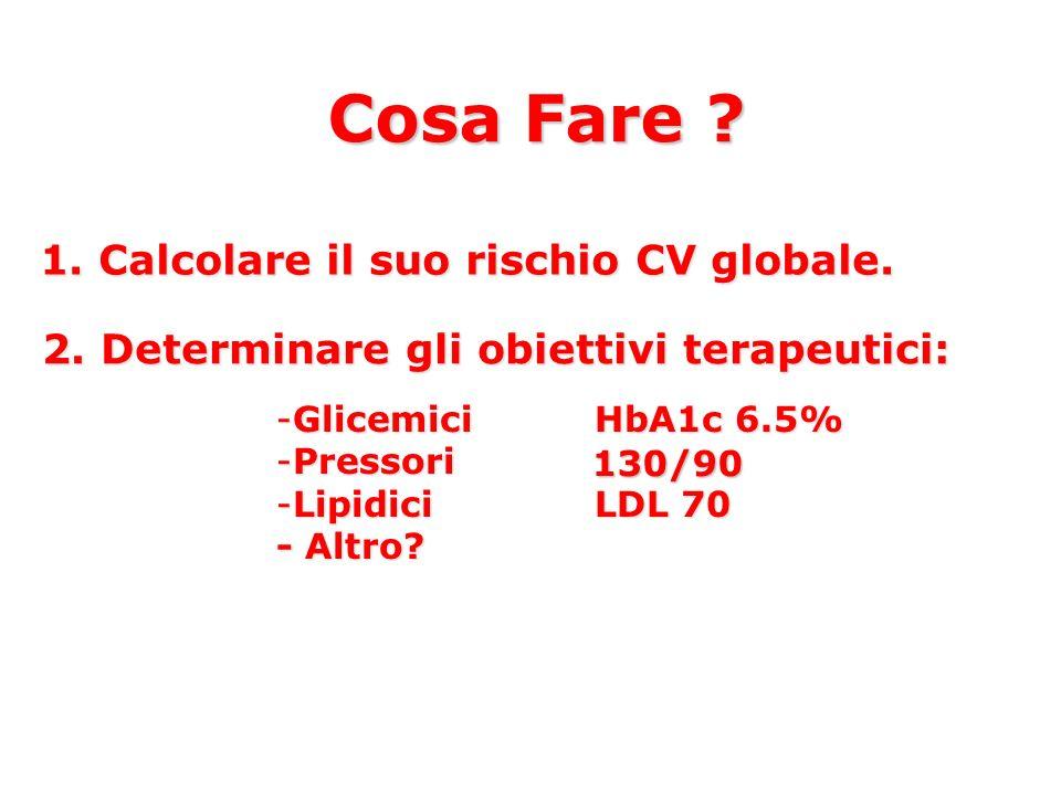 Cosa Fare ? 1. Calcolare il suo rischio CV globale. 2. Determinare gli obiettivi terapeutici: -GlicemiciHbA1c 6.5% -Pressori -LipidiciLDL 70 - Altro?