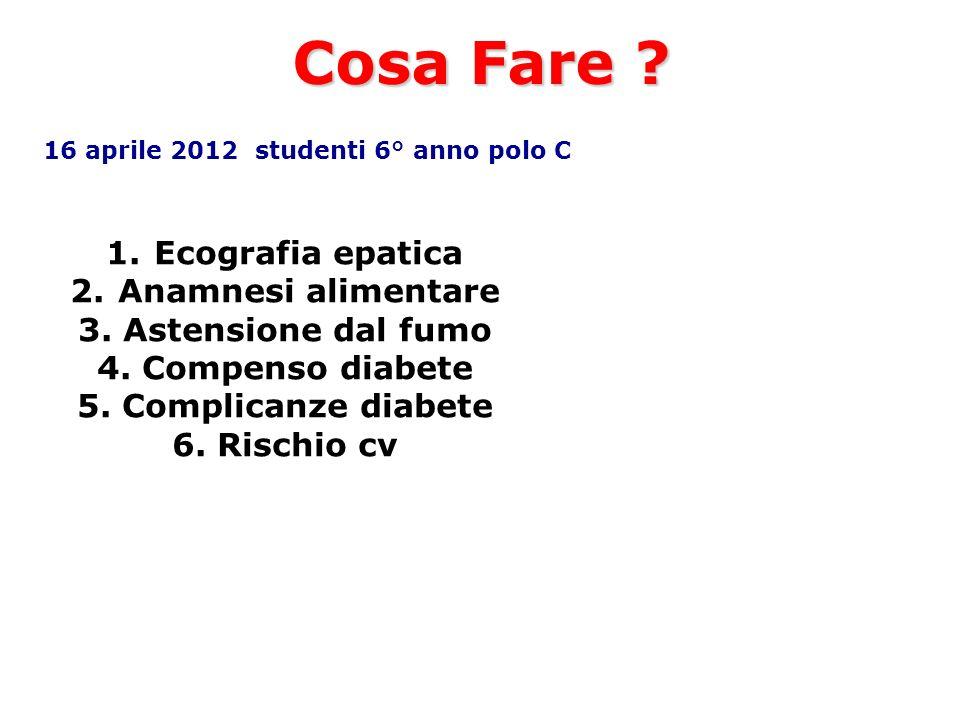 Cosa Fare ? 16 aprile 2012 studenti 6° anno polo C 1.Ecografia epatica 2.Anamnesi alimentare 3. Astensione dal fumo 4. Compenso diabete 5. Complicanze