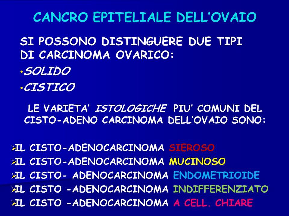 CANCRO EPITELIALE DELLOVAIO SI POSSONO DISTINGUERE DUE TIPI DI CARCINOMA OVARICO: SOLIDO CISTICO LE VARIETA ISTOLOGICHE PIU COMUNI DEL CISTO-ADENO CAR