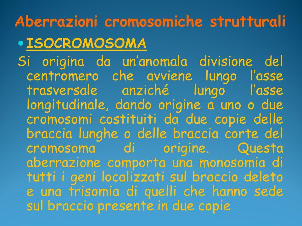 Aberrazioni cromosomiche strutturali ISOCROMOSOMA Si origina da unanomala divisione del centromero che avviene lungo lasse trasversale anziché lungo l