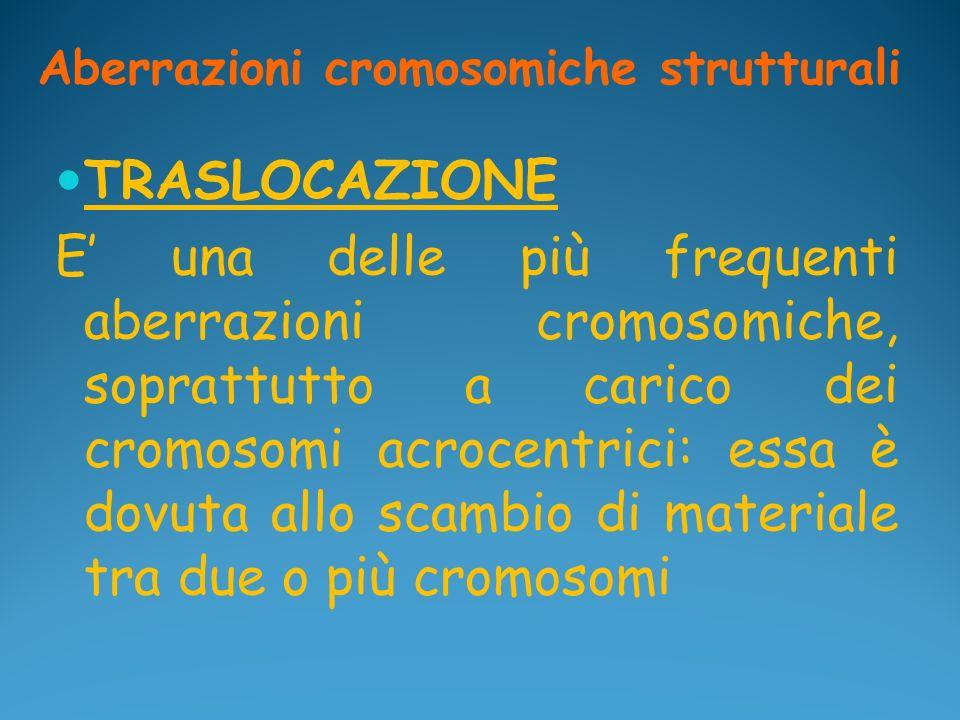 Aberrazioni cromosomiche strutturali TRASLOCAZIONE E una delle più frequenti aberrazioni cromosomiche, soprattutto a carico dei cromosomi acrocentrici