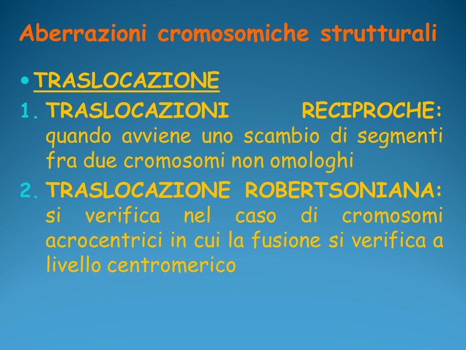 Aberrazioni cromosomiche strutturali TRASLOCAZIONE 1. TRASLOCAZIONI RECIPROCHE: quando avviene uno scambio di segmenti fra due cromosomi non omologhi