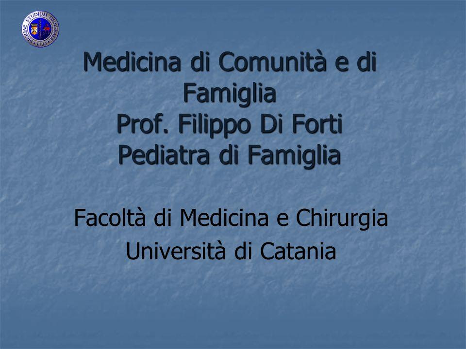Medicina di Comunità e di Famiglia Prof.