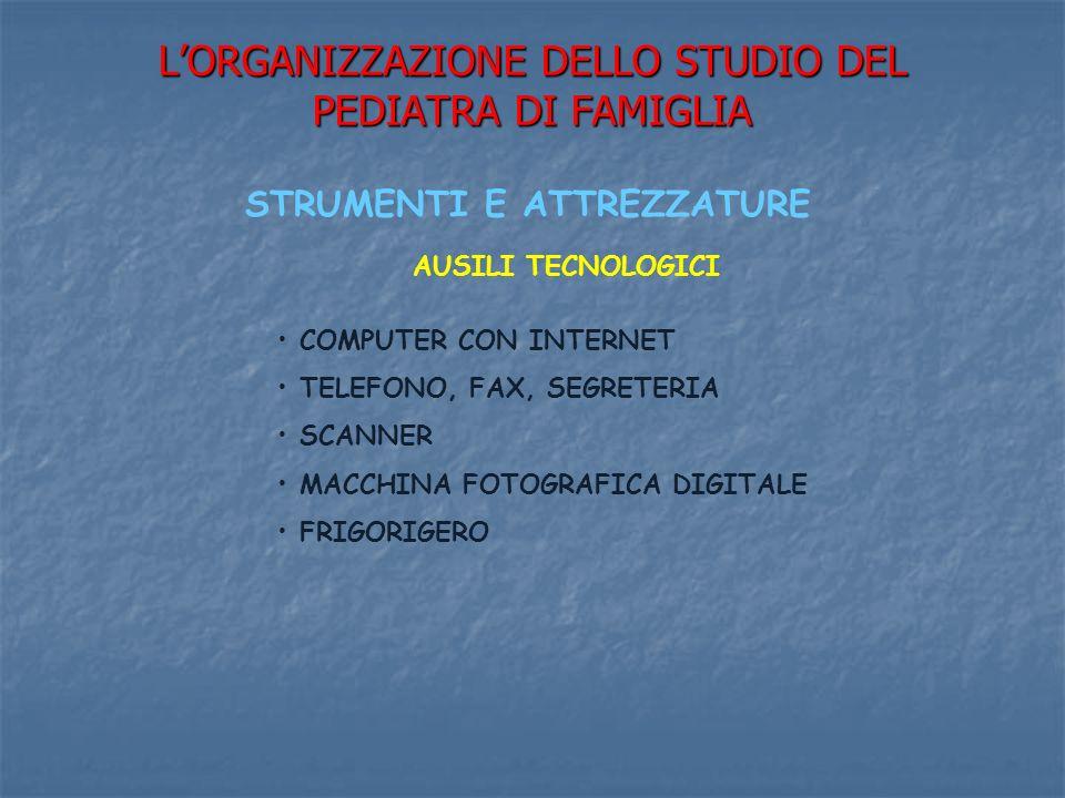 LORGANIZZAZIONE DELLO STUDIO DEL PEDIATRA DI FAMIGLIA STRUMENTI E ATTREZZATURE AUSILI TECNOLOGICI COMPUTER CON INTERNET TELEFONO, FAX, SEGRETERIA SCANNER MACCHINA FOTOGRAFICA DIGITALE FRIGORIGERO