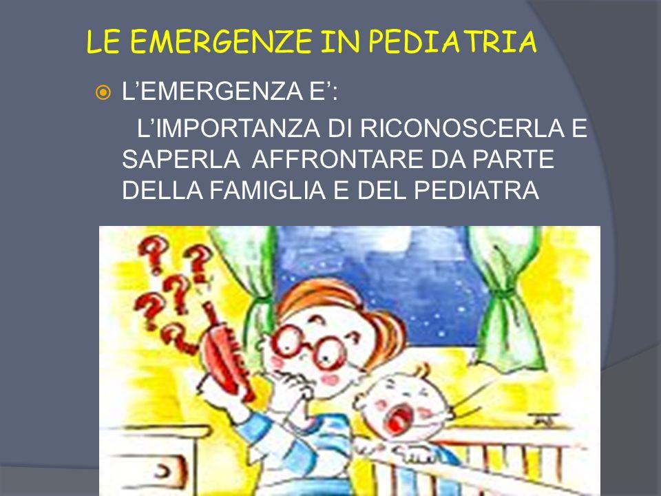 LE EMERGENZE IN PEDIATRIA LEMERGENZA E: - SITUAZIONE DI CRISI O DI PERICOLO DA AFFRONTARE CON TEMPESTIVITA E RISOLUTEZZA SAPERE AFFRONTARE LEMERGENZA