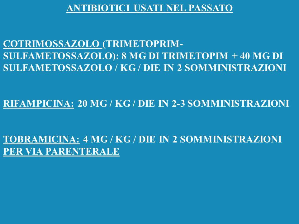 POSOLOGIA DEI MACROLIDI LONG-ACTING CLARITROMICINA: 15 MG / KG / DIE IN 2 SOMMINISTRAZIONI AZITROMICINA: 10 MG / KG / DIE IN UNICA SOMMINISTRAZIONE PE