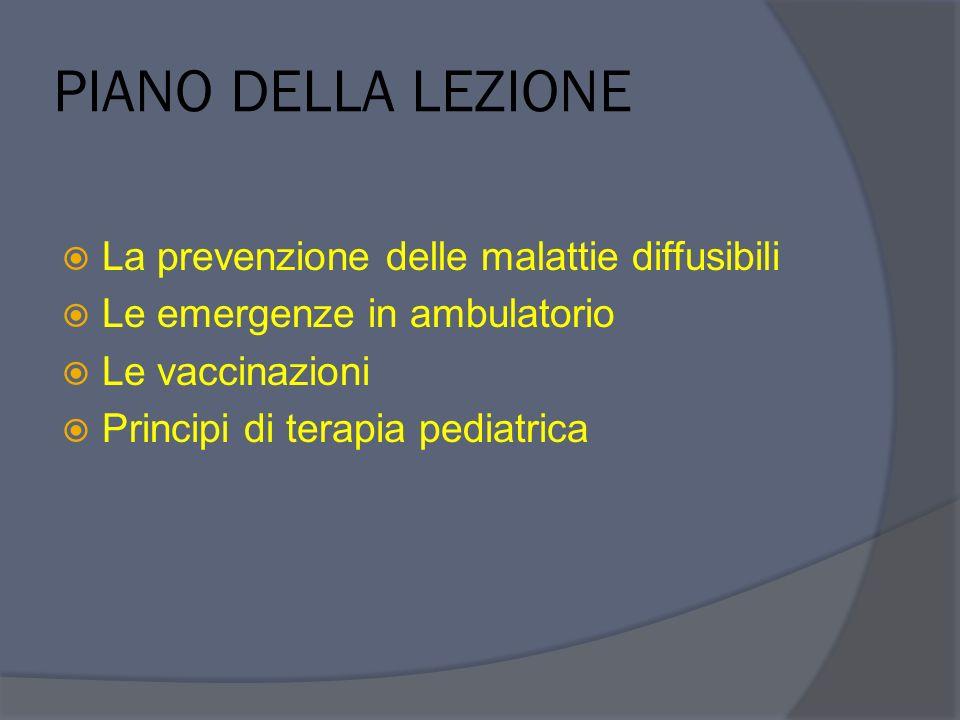PIANO DELLA LEZIONE La prevenzione delle malattie diffusibili Le emergenze in ambulatorio Le vaccinazioni Principi di terapia pediatrica