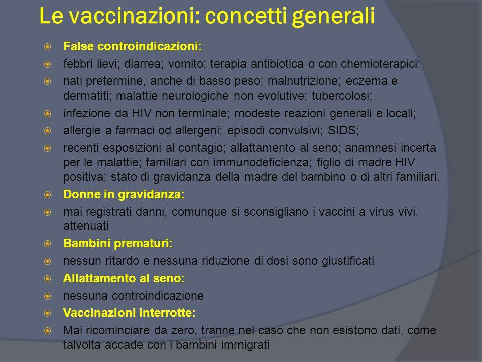 Le vaccinazioni: concetti generali Controindicazioni temporanee alle vaccinazioni Malattie con febbre > 38 C° Stati con immunodepressione grave: sia c