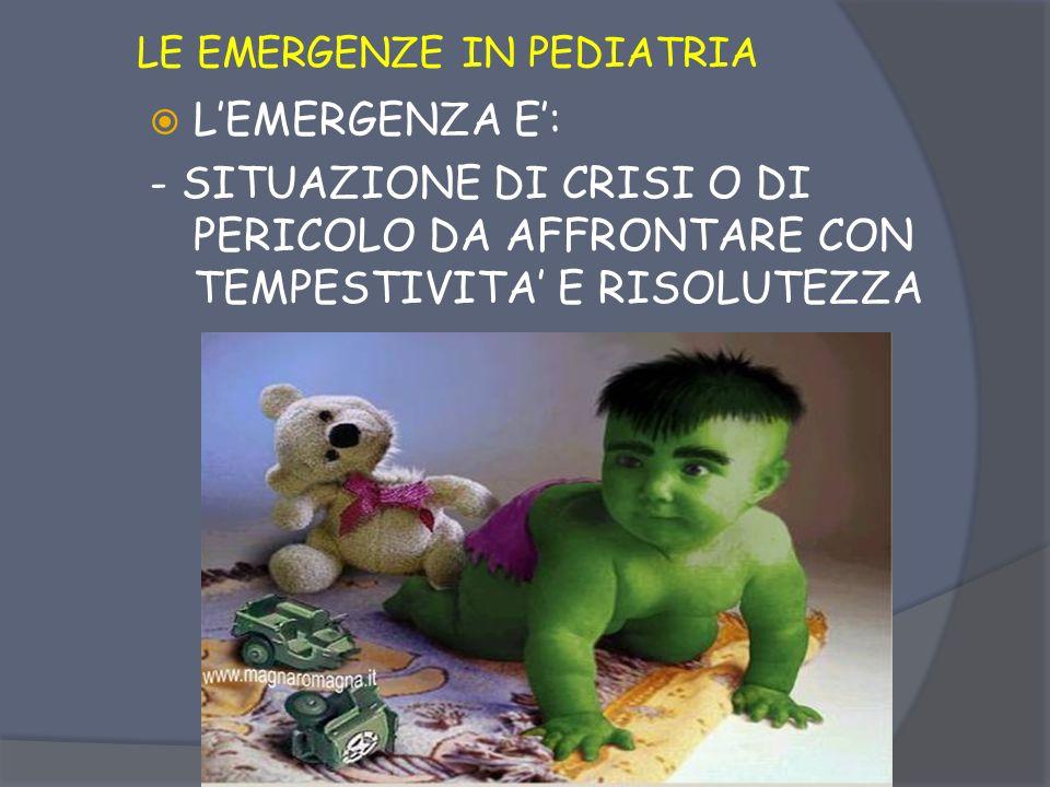 LE EMERGENZE IN PEDIATRIA lEMERGENZA E: - CIRCOSTANZA IMPREVISTA