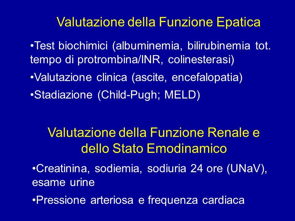 Valutazione della Funzione Epatica Valutazione della Funzione Renale e dello Stato Emodinamico Test biochimici (albuminemia, bilirubinemia tot.