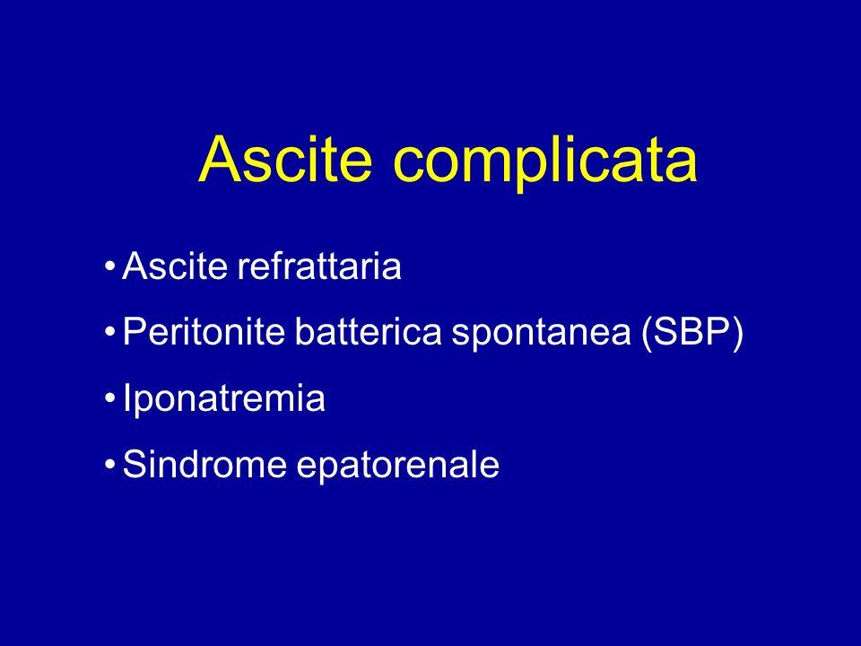 Ascite complicata Ascite refrattaria Peritonite batterica spontanea (SBP) Iponatremia Sindrome epatorenale