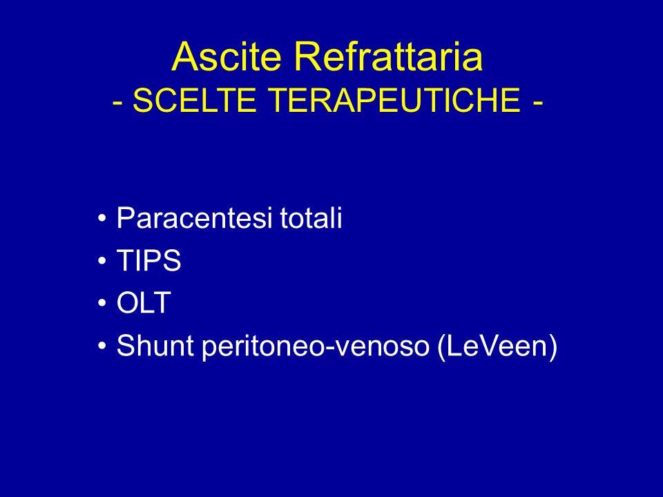 Ascite Refrattaria - SCELTE TERAPEUTICHE - Paracentesi totali TIPS OLT Shunt peritoneo-venoso (LeVeen)
