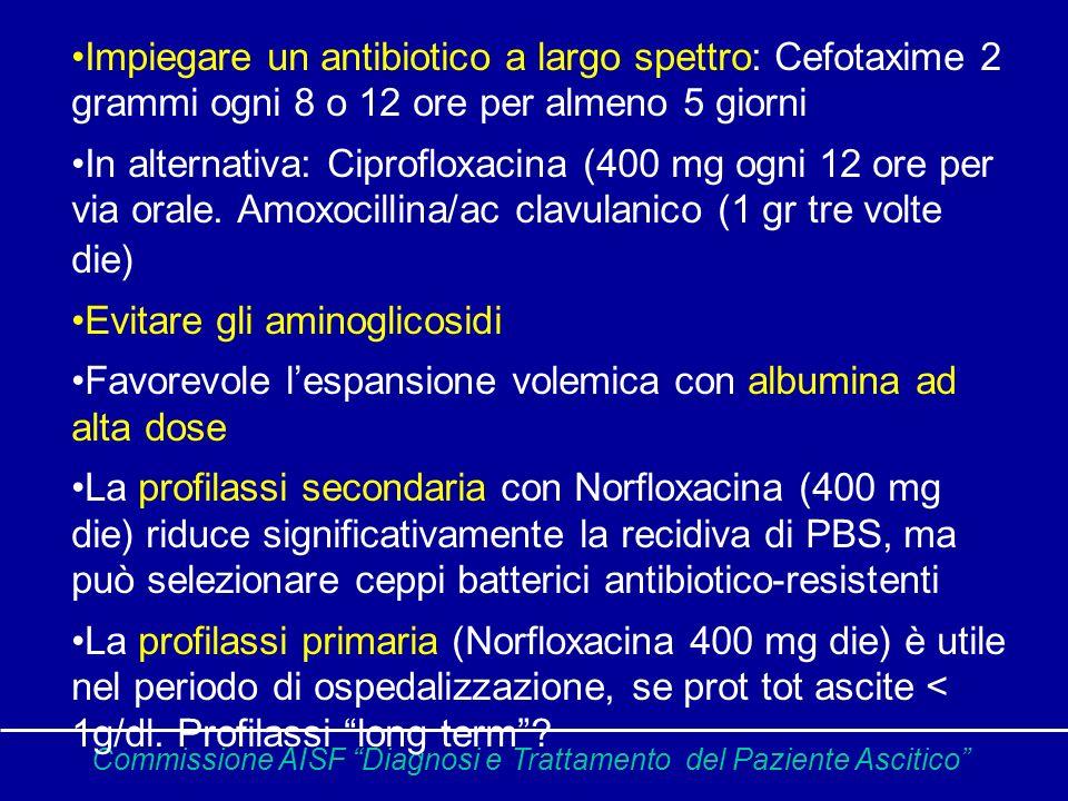 Commissione AISF Diagnosi e Trattamento del Paziente Ascitico Impiegare un antibiotico a largo spettro: Cefotaxime 2 grammi ogni 8 o 12 ore per almeno 5 giorni In alternativa: Ciprofloxacina (400 mg ogni 12 ore per via orale.