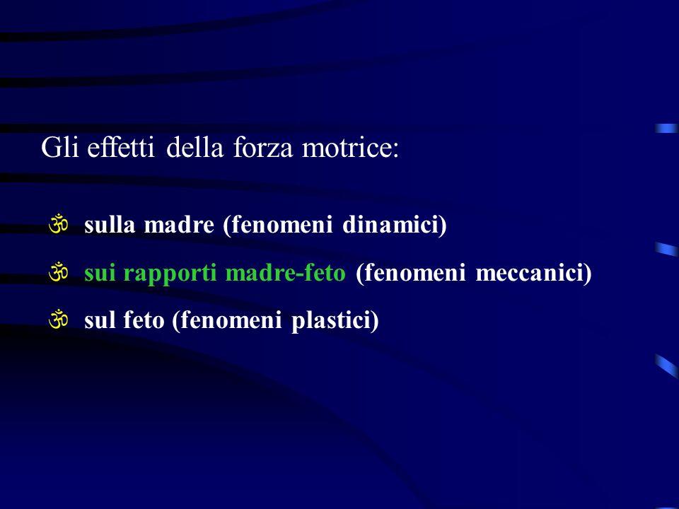 Gli effetti della forza motrice: \ sulla madre (fenomeni dinamici) \ sui rapporti madre-feto (fenomeni meccanici) \ sul feto (fenomeni plastici)