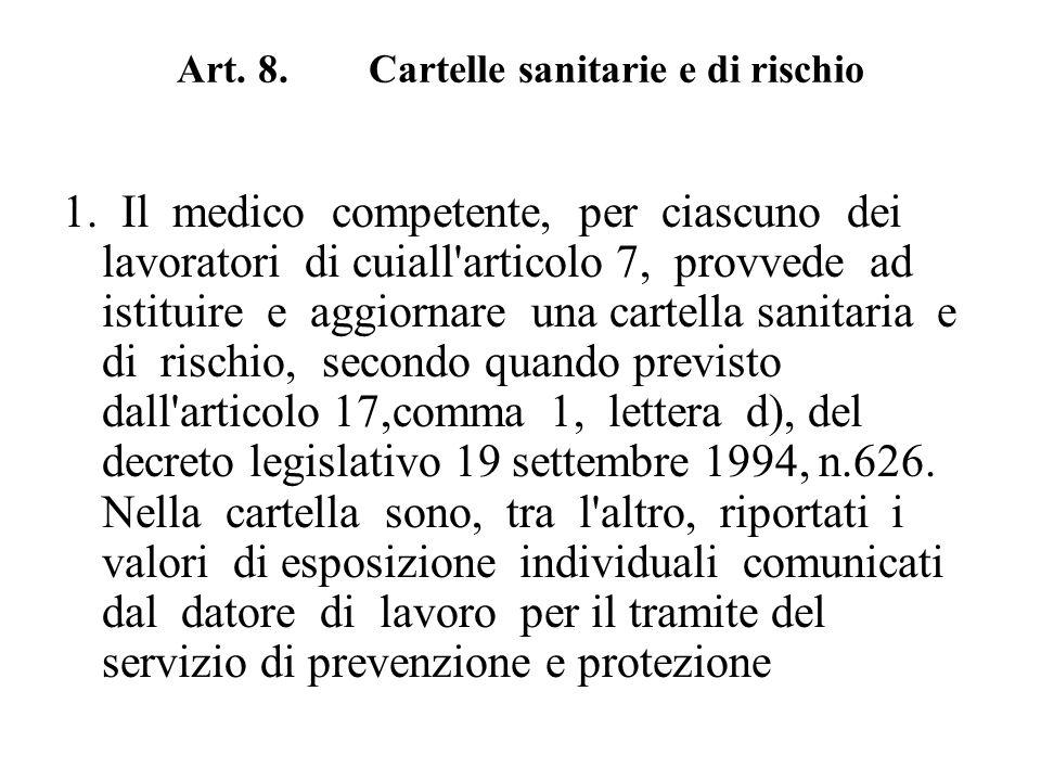 Art. 8. Cartelle sanitarie e di rischio 1. Il medico competente, per ciascuno dei lavoratori di cuiall'articolo 7, provvede ad istituire e aggiornare