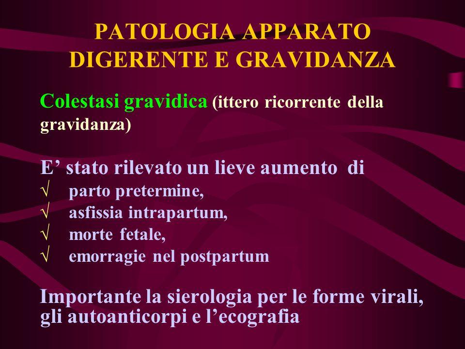 PATOLOGIA APPARATO DIGERENTE E GRAVIDANZA Colestasi gravidica (ittero ricorrente della gravidanza) E stato rilevato un lieve aumento di parto pretermi