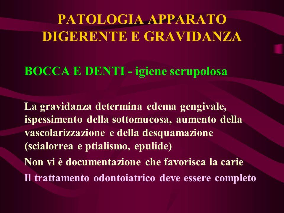 PATOLOGIA APPARATO DIGERENTE E GRAVIDANZA Pirosi gastrica Terapia sintomatica ev.