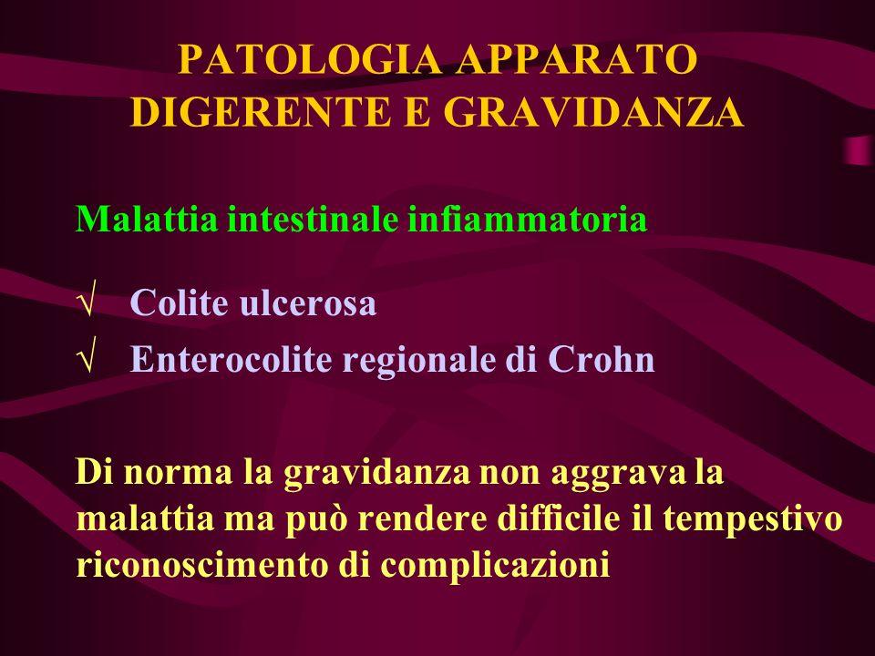 PATOLOGIA APPARATO DIGERENTE E GRAVIDANZA Malattia intestinale infiammatoria Colite ulcerosa Enterocolite regionale di Crohn Di norma la gravidanza no