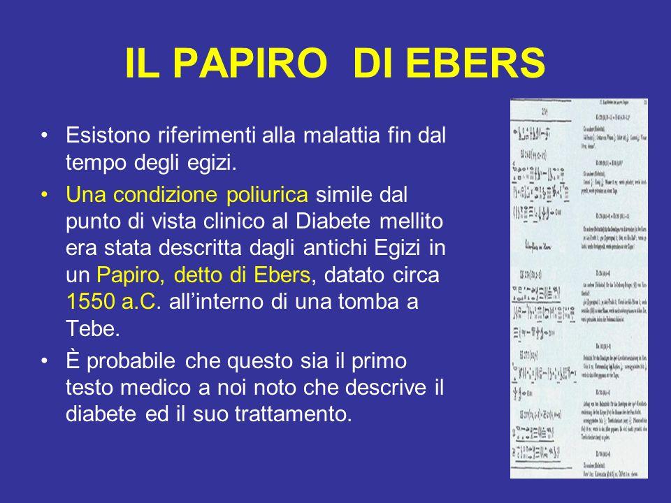 IL PAPIRO DI EBERS Esistono riferimenti alla malattia fin dal tempo degli egizi. Una condizione poliurica simile dal punto di vista clinico al Diabete