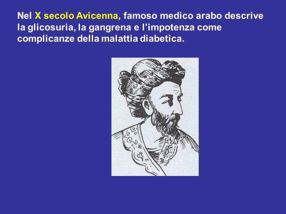 Nel X secolo Avicenna, famoso medico arabo descrive la glicosuria, la gangrena e limpotenza come complicanze della malattia diabetica.