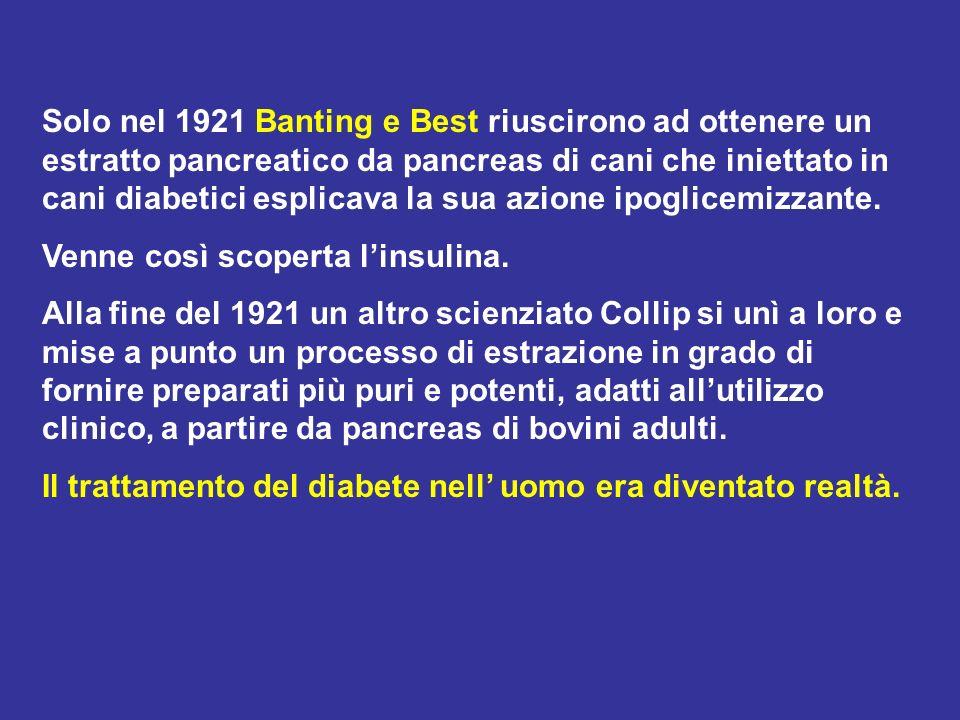 Solo nel 1921 Banting e Best riuscirono ad ottenere un estratto pancreatico da pancreas di cani che iniettato in cani diabetici esplicava la sua azion