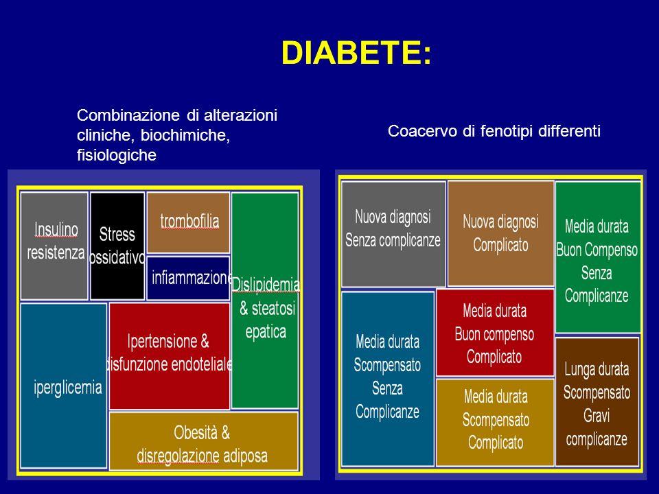 DIABETE: Coacervo di fenotipi differenti Combinazione di alterazioni cliniche, biochimiche, fisiologiche