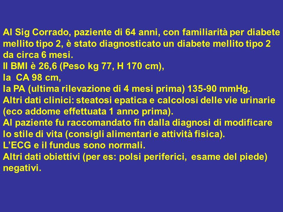 Al Sig Corrado, paziente di 64 anni, con familiarità per diabete mellito tipo 2, è stato diagnosticato un diabete mellito tipo 2 da circa 6 mesi. Il B