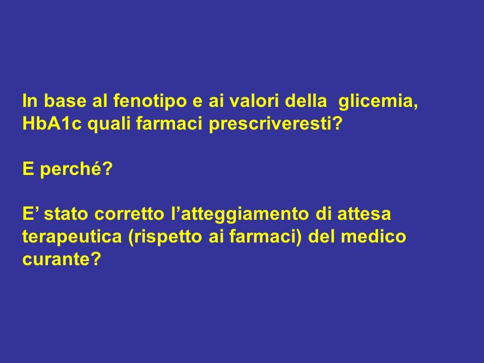 In base al fenotipo e ai valori della glicemia, HbA1c quali farmaci prescriveresti? E perché? E stato corretto latteggiamento di attesa terapeutica (r