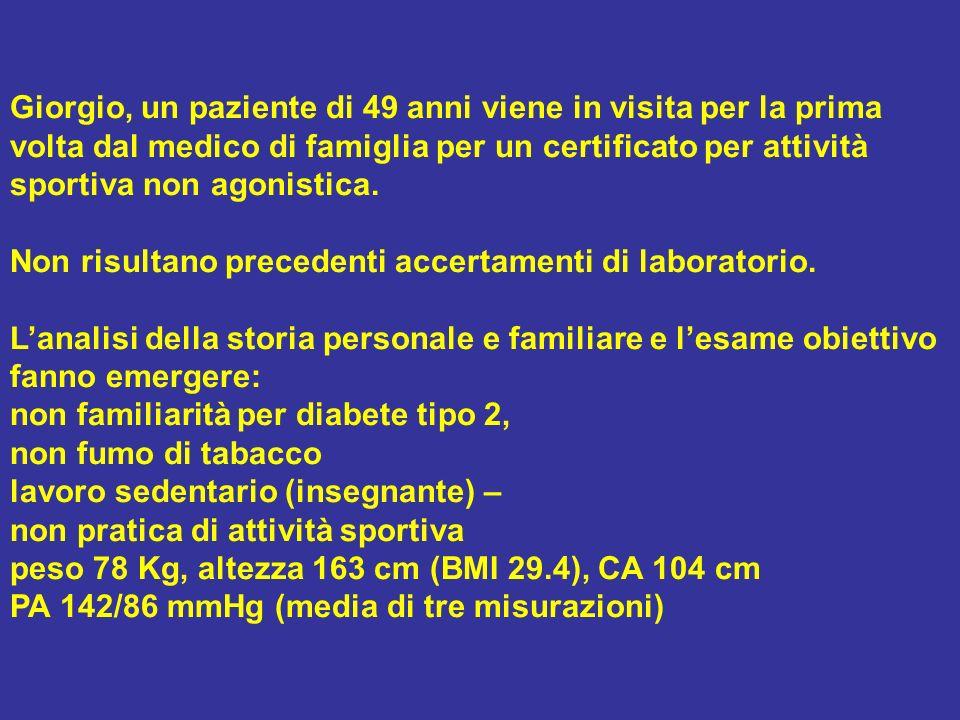 Risultati: Autocontrollo glicemia: range glicemia a digiuno = 140-162 mg\dl, range glicemia post prandiale = 168-203 mg/dl emoglobina glicata = 7.7% (la precedente, sei mesi prima, 7.1%) urine del mattino: normali; urinocoltura: negativa creatininemia = 1,1 mg\dl; clearance creatinina (Cockroft e Gault) 78,3 ml\min (corretta per il peso ideale 71 ml\min) microalbuminuria 24 h = 15 mg/L AST = 54 U/l (>), ALT = 50 U/l (>), gamma GT= 72 U/l (>), CPK= normali CT = 263 mg/dl; TG = 190 mg/dl; C- HDL = 39 mg/dl; C LDL = 186 mg/dl