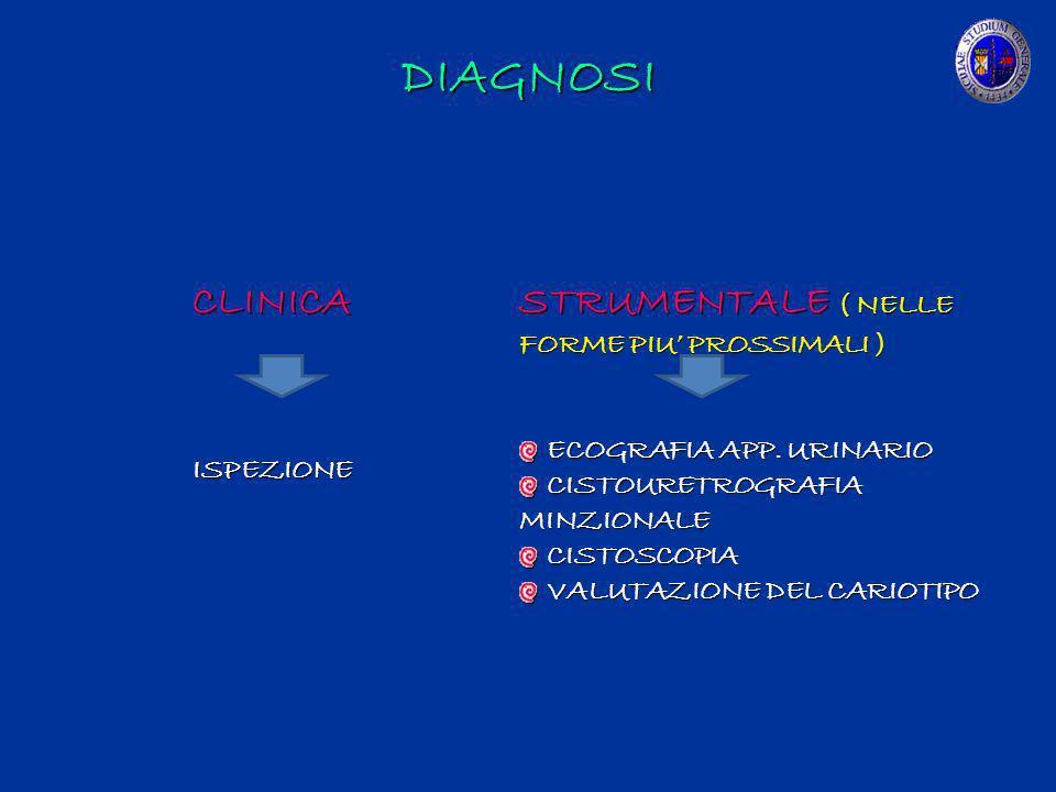 DIAGNOSI CLINICA ISPEZIONE STRUMENTALE ( NELLE FORME PIU PROSSIMALI ) ECOGRAFIA APP. URINARIO ECOGRAFIA APP. URINARIO CISTOURETROGRAFIA MINZIONALE CIS