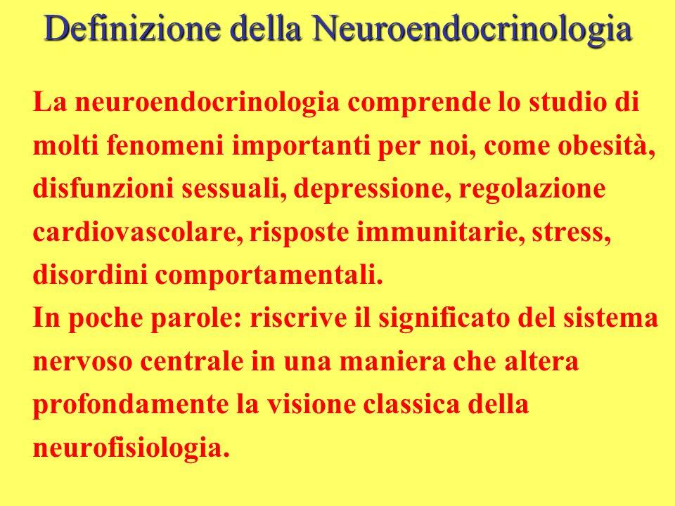 Definizione della Neuroendocrinologia La neuroendocrinologia comprende lo studio di molti fenomeni importanti per noi, come obesità, disfunzioni sessu
