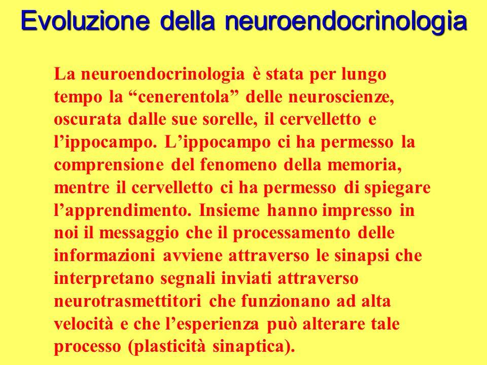 Evoluzione della neuroendocrinologia A poco a poco lo scopo della neuroendocrinologia si è dilatato comprendendo i sistemi peptidergici dellipotalamo, e le interazioni tra il sistema endocrino ed il comportamento.