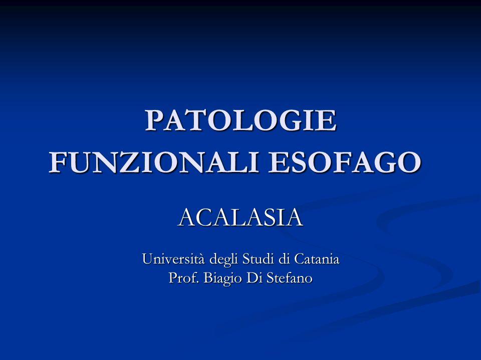 PATOLOGIE FUNZIONALI ESOFAGO ACALASIA Università degli Studi di Catania Prof. Biagio Di Stefano