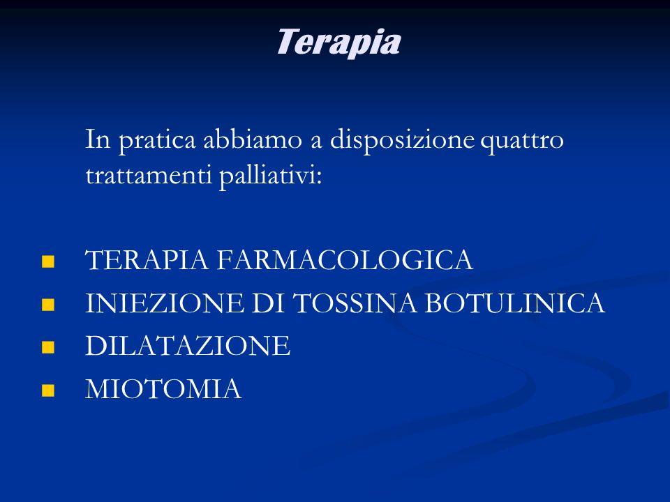 Terapia In pratica abbiamo a disposizione quattro trattamenti palliativi: TERAPIA FARMACOLOGICA INIEZIONE DI TOSSINA BOTULINICA DILATAZIONE MIOTOMIA