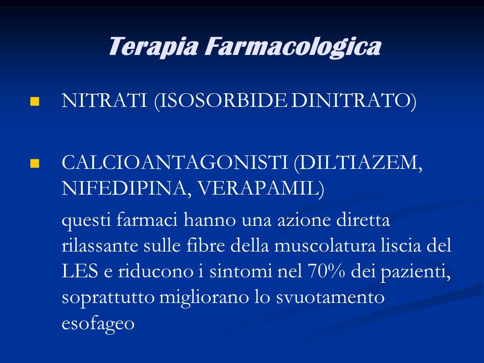 Terapia Farmacologica NITRATI (ISOSORBIDE DINITRATO) CALCIOANTAGONISTI (DILTIAZEM, NIFEDIPINA, VERAPAMIL) questi farmaci hanno una azione diretta rila
