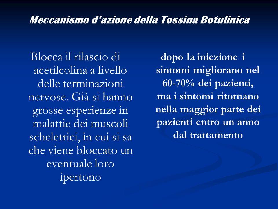 Meccanismo dazione della Tossina Botulinica Blocca il rilascio di acetilcolina a livello delle terminazioni nervose. Già si hanno grosse esperienze in