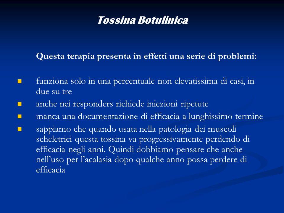 Tossina Botulinica Questa terapia presenta in effetti una serie di problemi: funziona solo in una percentuale non elevatissima di casi, in due su tre