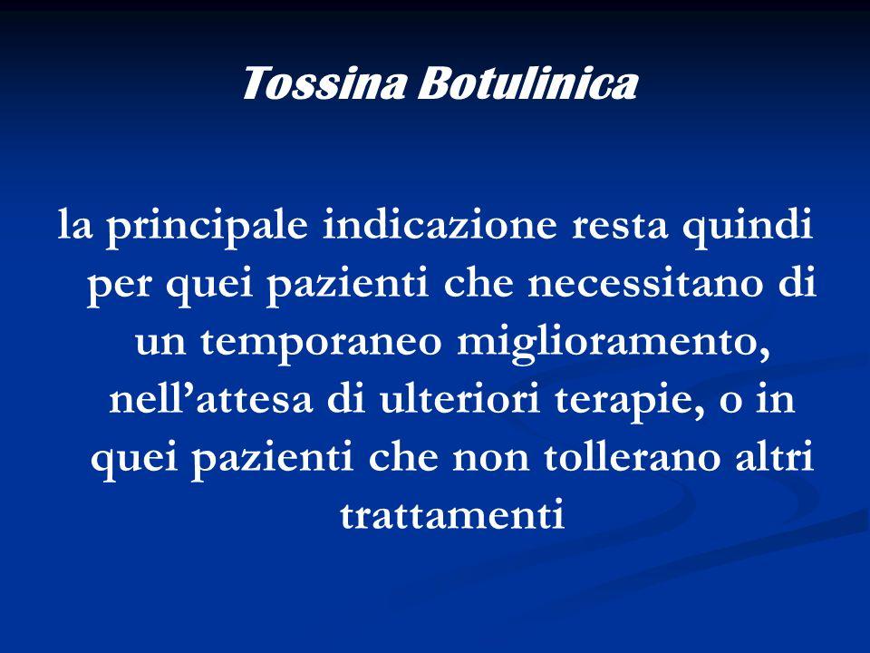 Tossina Botulinica la principale indicazione resta quindi per quei pazienti che necessitano di un temporaneo miglioramento, nellattesa di ulteriori te