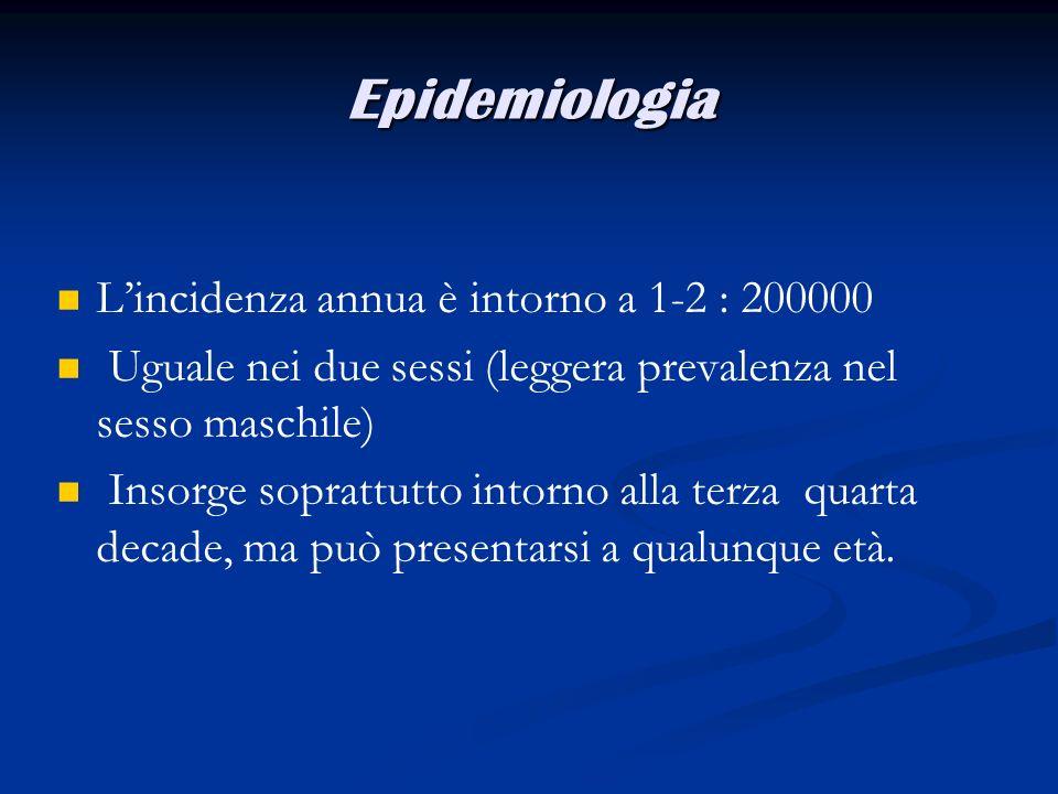 Epidemiologia Lincidenza annua è intorno a 1-2 : 200000 Uguale nei due sessi (leggera prevalenza nel sesso maschile) Insorge soprattutto intorno alla