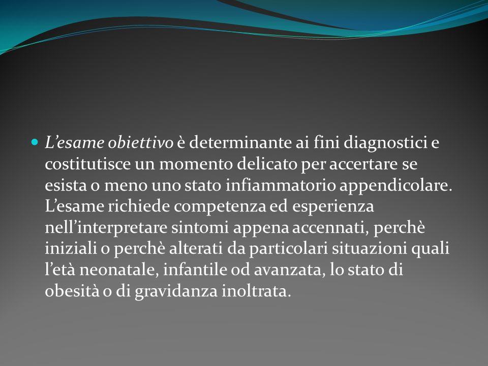 Lesame obiettivo è determinante ai fini diagnostici e costitutisce un momento delicato per accertare se esista o meno uno stato infiammatorio appendic