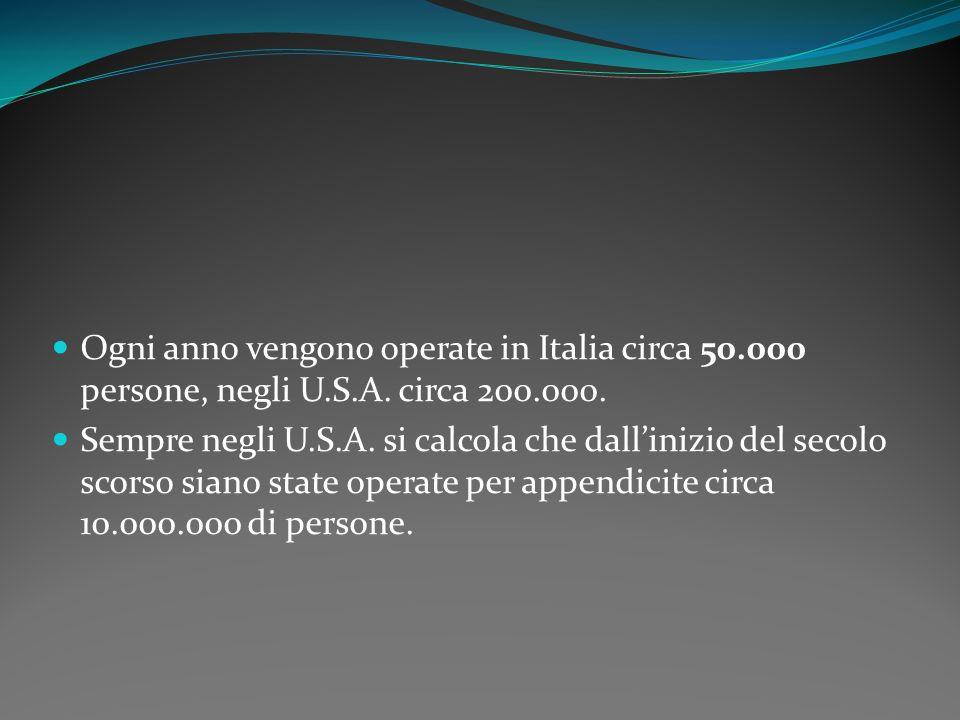 Ogni anno vengono operate in Italia circa 50.000 persone, negli U.S.A. circa 200.000. Sempre negli U.S.A. si calcola che dallinizio del secolo scorso