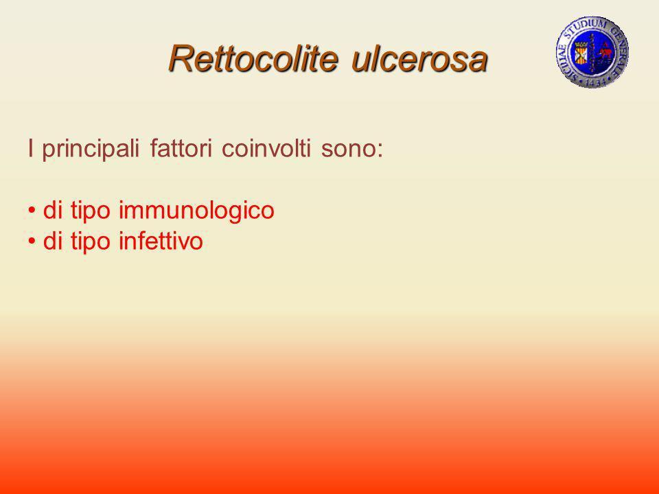 Rettocolite ulcerosa I principali fattori coinvolti sono: di tipo immunologico di tipo infettivo