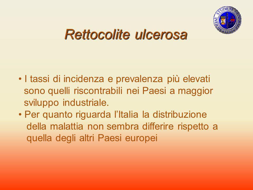 Rettocolite ulcerosa I tassi di incidenza e prevalenza più elevati sono quelli riscontrabili nei Paesi a maggior sviluppo industriale. Per quanto rigu