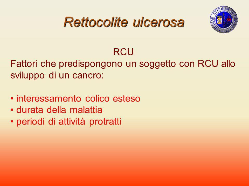 Rettocolite ulcerosa RCU Fattori che predispongono un soggetto con RCU allo sviluppo di un cancro: interessamento colico esteso durata della malattia