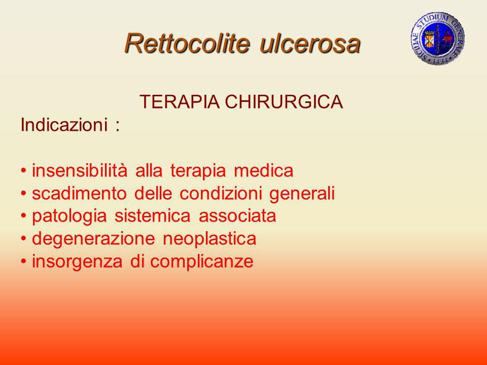 Rettocolite ulcerosa TERAPIA CHIRURGICA Indicazioni : insensibilità alla terapia medica scadimento delle condizioni generali patologia sistemica assoc