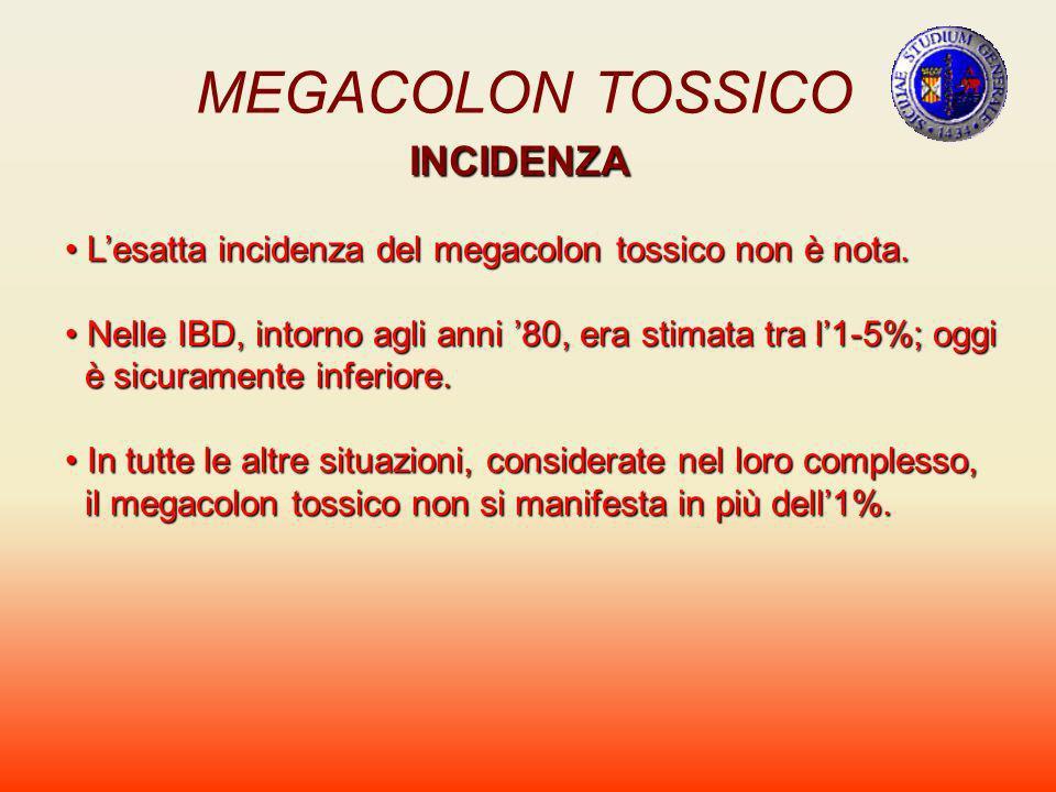 MEGACOLON TOSSICO INCIDENZA Lesatta incidenza del megacolon tossico non è nota. Lesatta incidenza del megacolon tossico non è nota. Nelle IBD, intorno